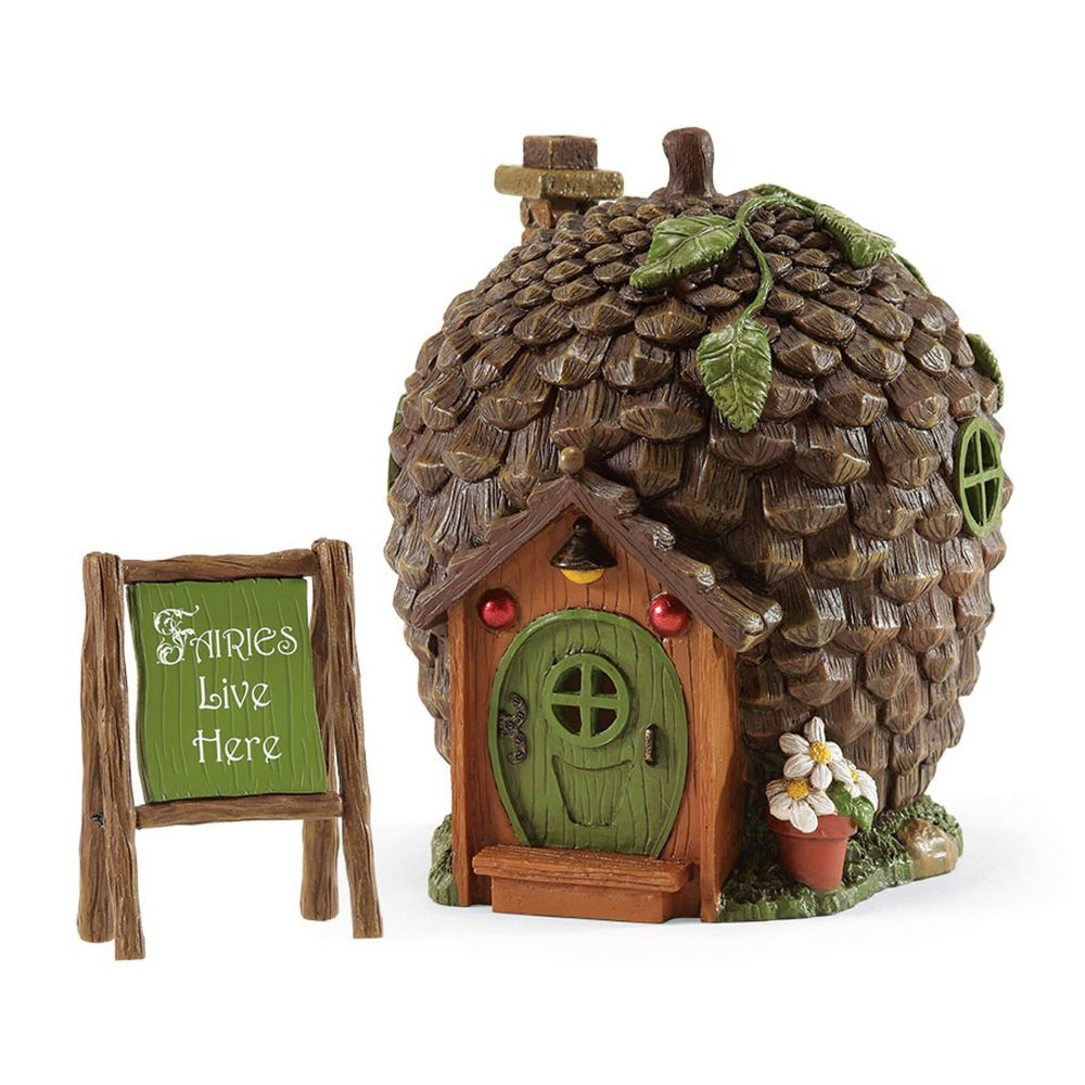 Department 56 Enchanted Guardians Medium Outdoor Pinecone Lighted Fairy Garden House 4051124